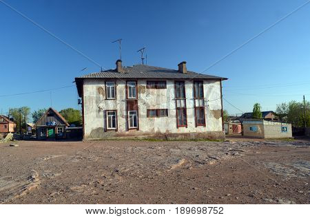 Small town  Sary-Shagan in Kazakhstan.Vintage buildings of 1950-th.May 11, 2017.Sary-Shagan.Kazakhstan