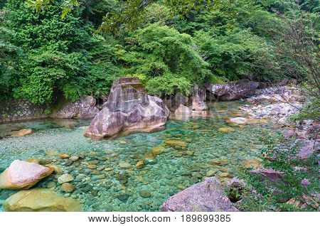Crystal Clear River Flowing Over Rocks