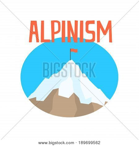 Alpinism badge, peak mountain label colorful vector Illustration