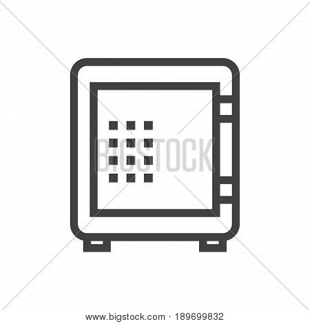 Isolted Strongbox Outline Symbol On Clean Background. Vector Safe Element In Trendy Style.