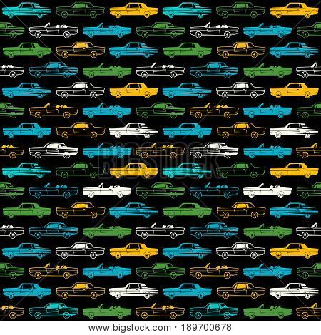 Seamless Pattern With Image Of Retro Cars