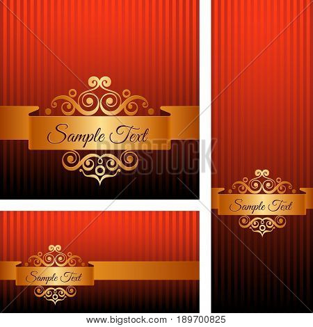Banners with Golden Ornaments on Dark Red Background.