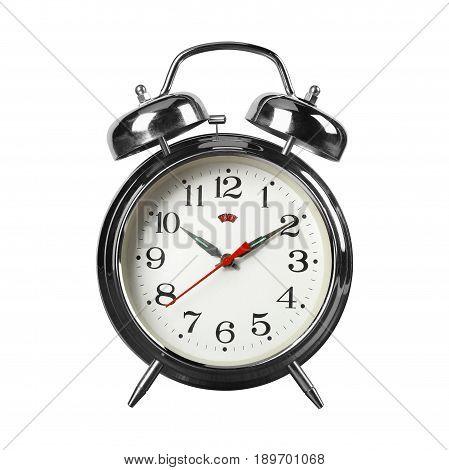 Vintage Alarm Clock - Old retro alarm clock on a white background. Isolated
