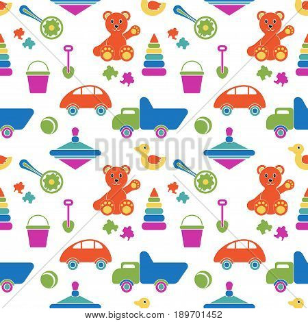 Kids toys - vector seamless pattern. Games for boys and girls