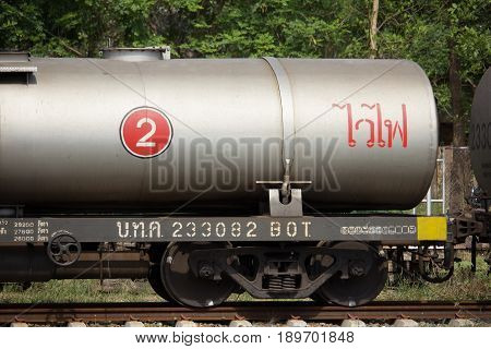 Empty Oil Bogie Train At Chiangmai Railway Station
