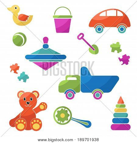 Big set vector items in flat style, colorful illustrations for Child toys. Isolated on white background.
