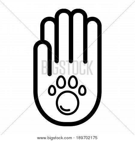 Human hand and paw inside simple vector icon. Black and white illustration of adopt pet. Outline linear icon. eps 10