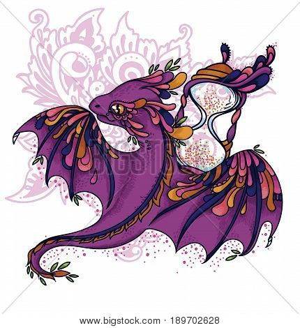 cute colorful dragon and hourglass, time guardian, lilac and pink colors, vector illustration