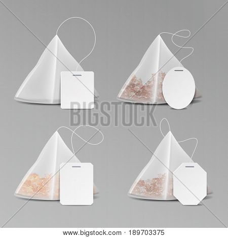 Pyramid Shape Tea Bag Set. Mock Up With Empty Square, Rectangle Labels. 3D Realistic Teabag Template. Vector