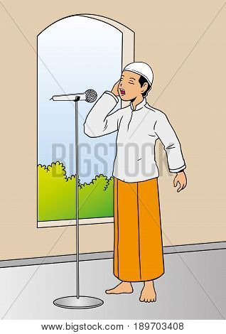 Illustration of muslim man calling for afternoon prayer in mosque