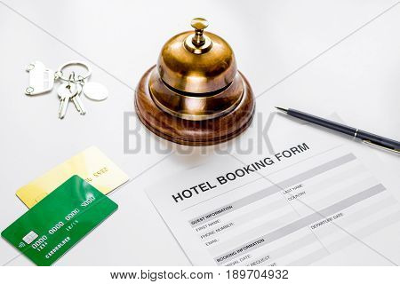 Hotel Reception Desk With Booking Form White Background