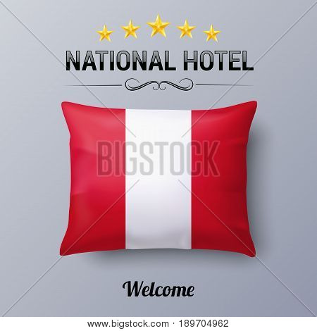 Realistic Pillow and Flag of Peru as Symbol National Hotel. Flag Pillow Cover with Peruvian flag