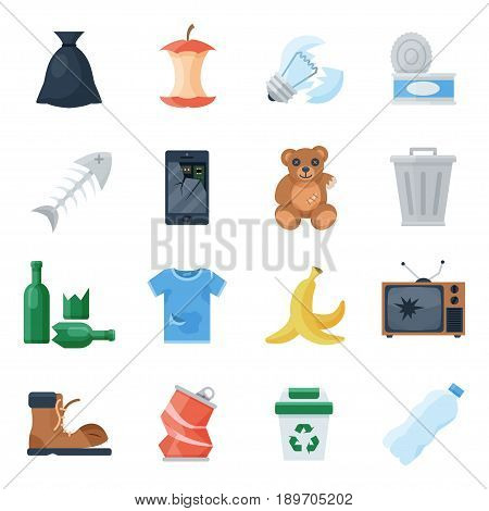 Garbage set, sort of waste management, recycling system, appliance and food scraps, clothing. Vector flat style cartoon illustration isolated on white background