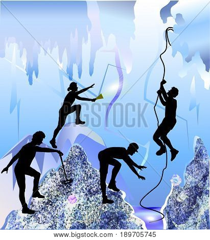 Ice cave with silhouettes of peoples, stalactites and ice rocks of crystals. Polygonal underground space with cave explorers. Four speleologists with rope, metal detector and torch