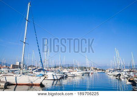 Yachts Moored In Marina Of Ajaccio