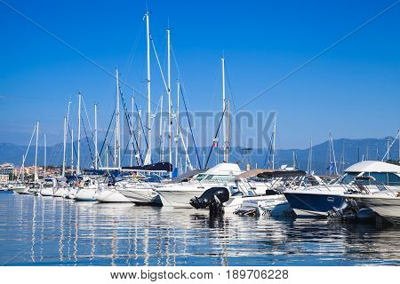 Yachts And Boats Moored In Marina Of Ajaccio
