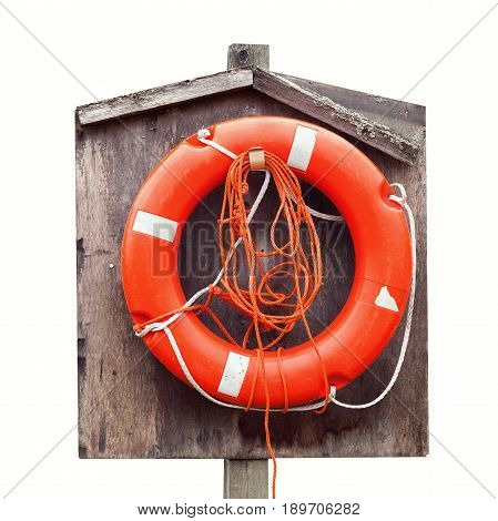 Bright Red Lifebuoy In Wooden Case Isolated