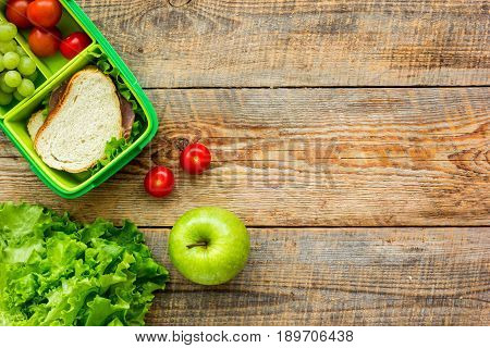 School Lunch Set With Apple And Vegetables In Lunchbox Background Top View Mock Up