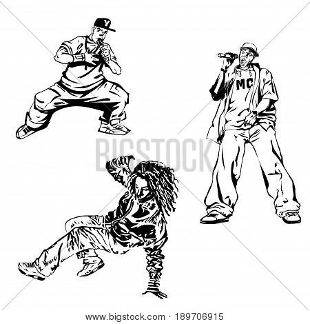 Raper dancer and MC on white background. Extreme theme modern print. Vector design elements. Isolated on white