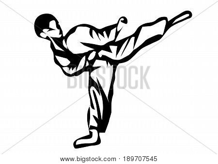 karate. Silhouette of a karateka doing standing side kick