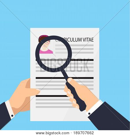 Curriculum vitae document icon. Human resources management or analyzing personnel resume. Searching for professional stuff Vector stock.