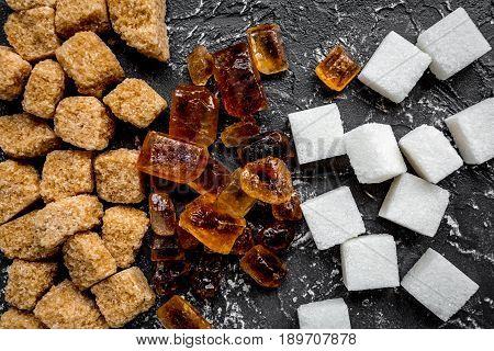 Lumps Of Sugar For Sweets On Kitchen Table Background Top View Pattern