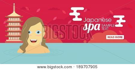 Japanese spa flat vector banner for design