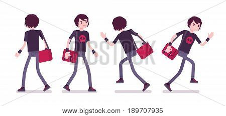 Emo boy, true subculture look, skinny jeans, black t-shirt, wristbands, choppy hairstyle, depressed, walking and running. Vector flat style cartoon illustration, isolated, white background