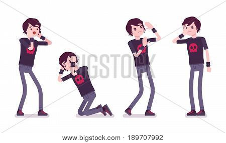 Emo boy, true subculture look, skinny jeans, black t-shirt, choppy hairstyle, feeling loneliness, melancholy, emotional distress. Vector flat style cartoon illustration, isolated, white background