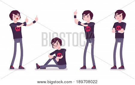 Emo boy, true subculture look, skinny jeans, black t-shirt, wristbands, choppy hairstyle, deeply in pessimistic, aggressive feelings. Vector flat style cartoon illustration, isolated, white background