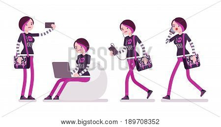 Emo girl, true subculture look, skinny trousers, striped longsleeve, dyed orchid hair, sitting with laptop, phone, making selfie. Vector flat style cartoon illustration, isolated, white background