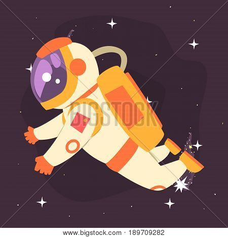 Astronaut floating in outer Space colorful vector Illustration