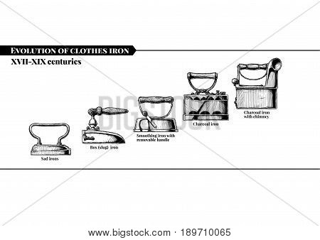 Vector hand drawn illustration of clothes iron evolution set. XVII-XIX centuries. Charcoal gas smoothing petrol and electric irons. Isolated on white background. Side view.