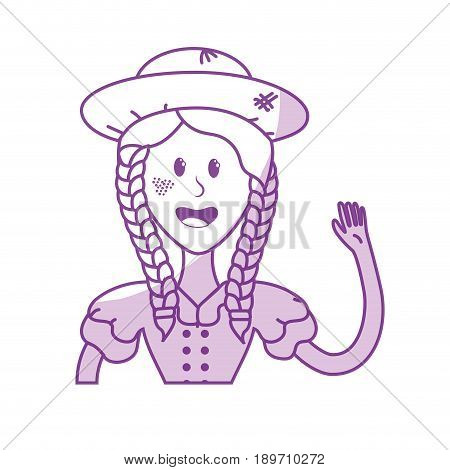 silhouette pretty woman with hat and blouse vector illustration
