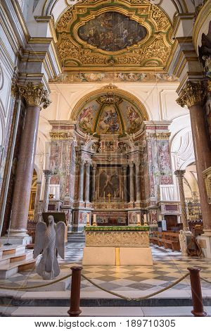 Amalfi Italy - September 1 2016: Main altar of the Cathedral of St Andrea in Amalfi