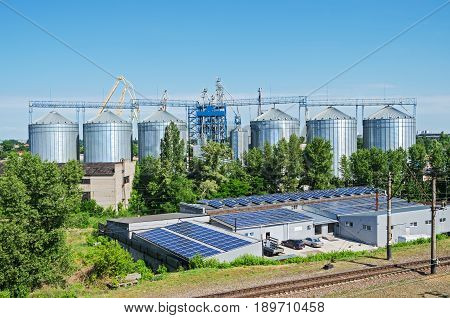 Modern grain silo that operates on clean electricity from solar panels