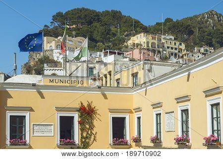 City Hall of Capri at the famous Piazzetta ( Piazza Umberto I ), Capri island, Naples, Italy