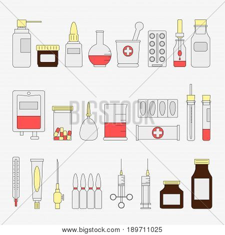 Flat color medical and health care icon set. Medicine signs and symbols. Vector illustration. Equipment. Design element collection. artoon style. Simple. Pharmacy. Pill. Hospital. Treatment Therapy