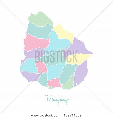 Uruguay Region Map: Colorful With White Outline. Detailed Map Of Uruguay Regions. Vector Illustratio