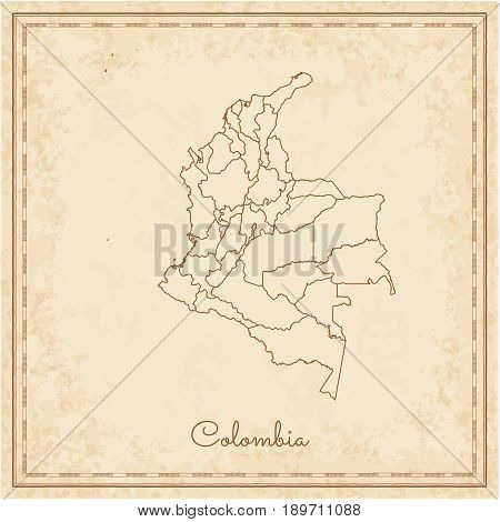 Colombia Region Map: Stilyzed Old Pirate Parchment Imitation. Detailed Map Of Colombia Regions. Vect