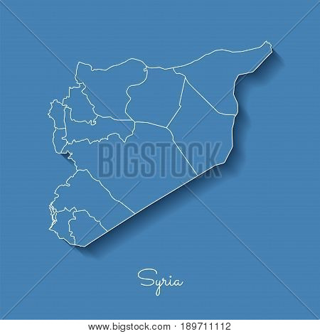Syria Region Map: Blue With White Outline And Shadow On Blue Background. Detailed Map Of Syria Regio