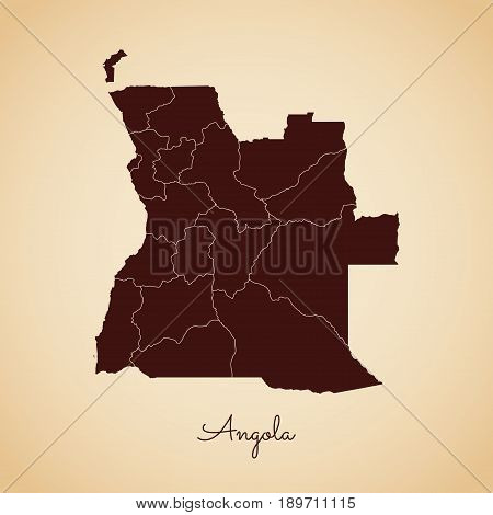 Angola Region Map: Retro Style Brown Outline On Old Paper Background. Detailed Map Of Angola Regions