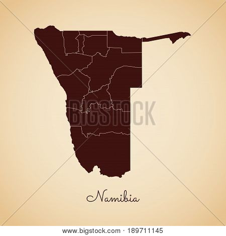 Namibia Region Map: Retro Style Brown Outline On Old Paper Background. Detailed Map Of Namibia Regio