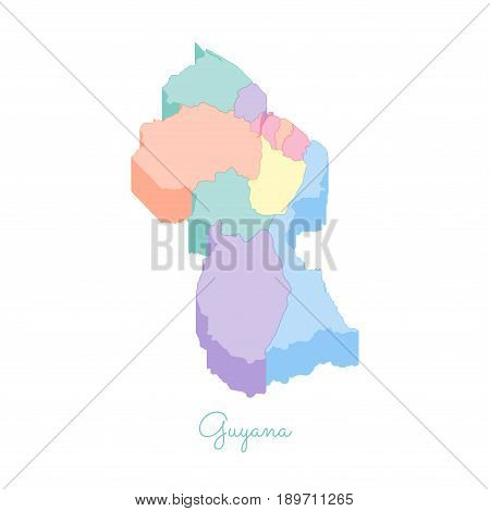 Guyana Region Map: Colorful Isometric Top View. Detailed Map Of Guyana Regions. Vector Illustration.