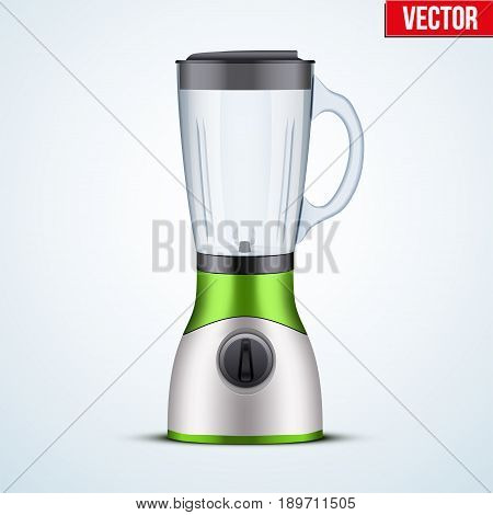 Kitchen blender with glass container in bio colors. Electronic Kitchen appliance. Original design. Concept of Health food and drink. Vector Illustration isolated on background.