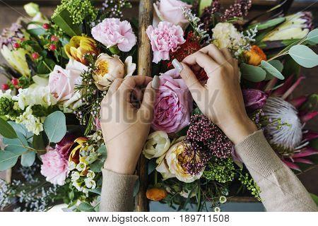 Hands Making Flowers Arrangement Bouquet