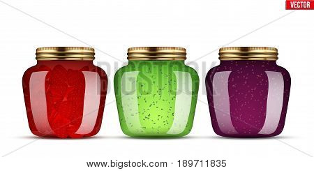 Canning Glass Jars with jam. Wide banner of kitchen homemade conservation. Vector Illustration isolated on white background.