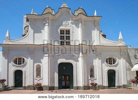 baroque facade of Chiesa di Santa Sofia (Santa Sofia Church) in Anacapri, Capri, Italy. Located on Piazza San Nicola and built in 1719