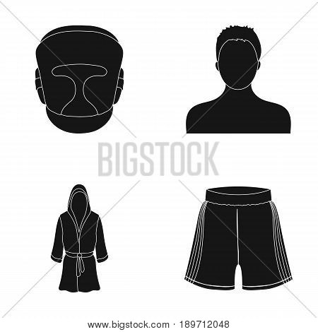 Boxing, sport, mask, helmet .Boxing set collection icons in black style vector symbol stock illustration .