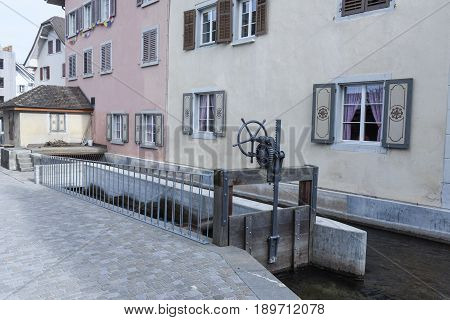 Sursee Switzerland - 4 March 2017: Water intake at the village of Sursee on Switzerland